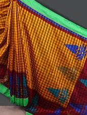 Full Checked Contrast Border Silk Saree - Varanga