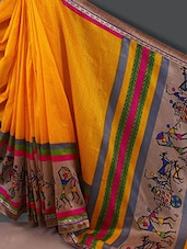 Warli Printed Border With Pallu Silk Saree - By