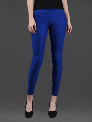 blue bottom zipper cotton lycra jeggings