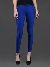 Side Zippers Blue Cotton Lycra Jeggings - AGC By Pretty Angel