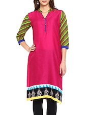 Pink Geometric Printed Cotton Kurti - Soch