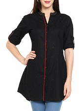 Black Plain Solid Cotton Kurti - Soch