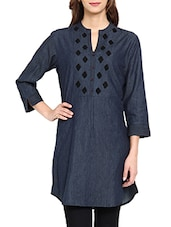 Blue Plain Solid Denim Kurti - Soch