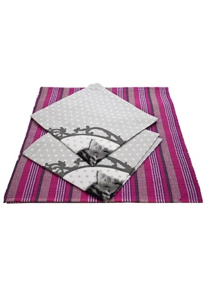 100% Cotton 2 Table Mats with 2 Table Napkin Set Pink/Grey