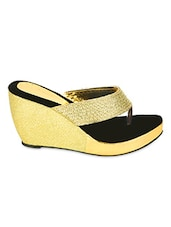 Gold Tone Straps Wedge Sandals - ZACHHO