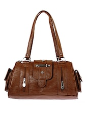 brown leatherette duffel bag handbag -  online shopping for handbags