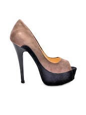 Grey And Black Peep-toe Stilettoes - Bruno Manetti