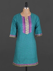 Funnel Neck Printed Cotton Kurta - Maya Antiques