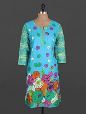 Funnel Neck Floral Print Cotton Kurta - Maya Antiques