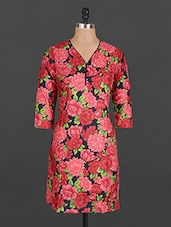 Quarter Sleeve Floral Print Cotton Kurta - Maya Antiques