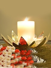 Silver Lotus Tea Light Holder - By