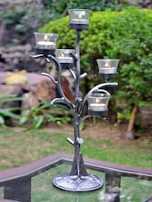 Black Iron And Glass Tree Tea-light Candle Holder - AG