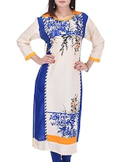 Cream Rayon Regular Kurta - By