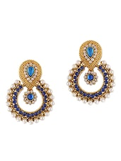 Ethnic Blue Stones & Pearls Embellished Earrings - Dancing Girl
