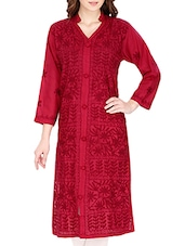 Maroon Cotton Long  Kurta - By