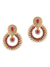 Stones & Pearls Embellished Earrings - Dancing Girl