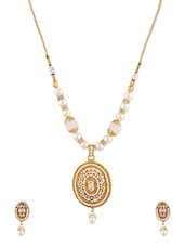 Beads & Stones Embellished Oval Pendant Necklace Set - Dancing Girl