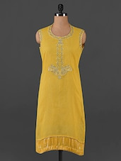 Yellow Round Neck Embroidered Kurta - Varan