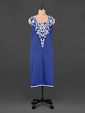 Blue Sleeveless Embroidered Kurta - Varan