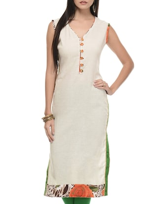 Sleeveless V neck long kurta
