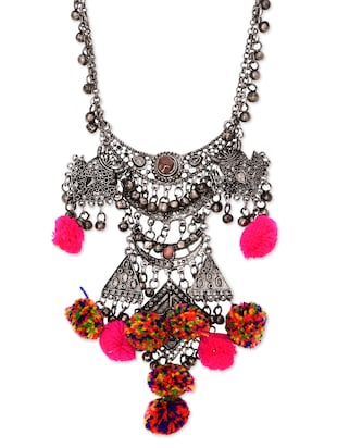 Antique Silver Embellished Banjara Necklace