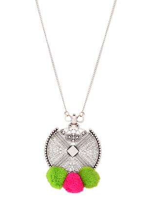 Silver Jaali Pom Pom Embellished Necklace