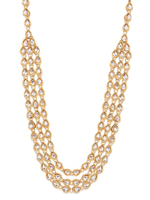 Gold and white kundan work necklace