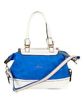 Royal Blue And White Leatherette Handbag - Alonzo