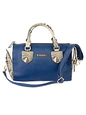 Blue And Faux Snakeskin Leatherette Handbag - Alonzo