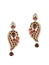 Traditional Maroon Stone Studded Earrings - Young & Forever