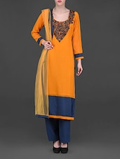 Embellished Orange And Blue Straight Suit - Chitwan Mohan