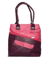 Dual Tone Leatherette Handbag - Yufta