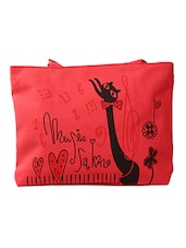 Cat Printed Red Canvas Tote Bag - Yufta
