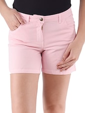 Pink Plain Solid Cotton Lycra Shorts - Alibi