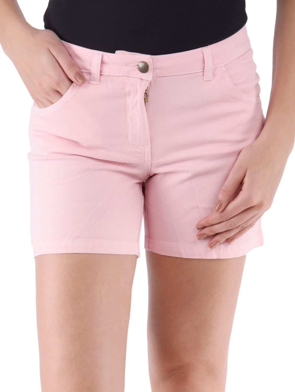 Pink Plain Solid Cotton Lycra Shorts - Alibi