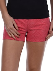 Coral Geometric Print Cotton Shorts - Alibi