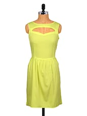Yellow Sleeveless Dress With Cut-out Detailing - By