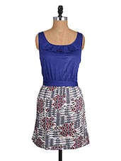 Blue Sleeveless Dress With Ruffled Detailing - Alibi