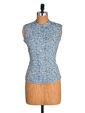 Blue Printed Sleeveless Top With Pintuck Detailing - Alibi