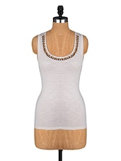 White Sleeveless Top With Printed Back - Alibi