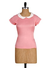 Pink Peter Pan Collar Top - Alibi
