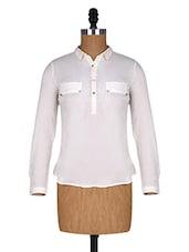 White Long Sleeves Polyester Shirt Collar Top - Alibi