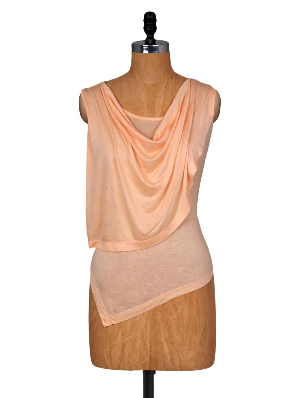 Peach Layered Sleeveless Viscose Top - Amari West