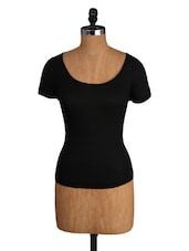 Black Viscose Top With Lacy Back - Amari West