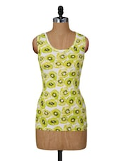 Lime And White Printed Sleeveless Top - Amari West
