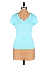 Blue Short Sleeve Cotton Tee - Amari West