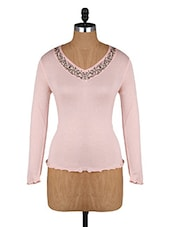Embellished Neck Long Sleeves Top - Amari West