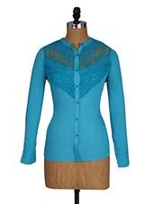 Lace Inset Long Sleeves Blue Shirt - Amari West