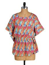 Floral Print Round Neck Kimono Sleeves Top - Amari West