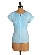 Sky Blue Embroidered Cotton Top - Amari West